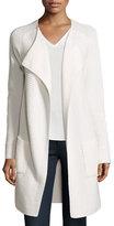 Iris von Arnim Long Cashmere Open-Front Cardigan, White