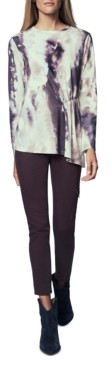 b new york Printed Side-Ruched Top