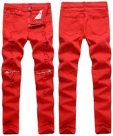MENGDA Men's Skinny Ripped Destroyed Slim Straight Fit Zipper Jeans With Holes