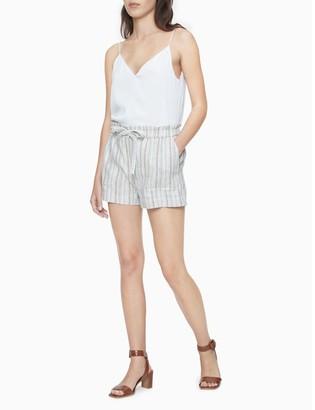 """Calvin Klein Striped Linen Blend Tie Waist 4"""" Shorts"""