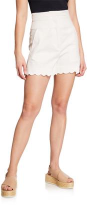 Rebecca Taylor High-Waist Scalloped Shorts