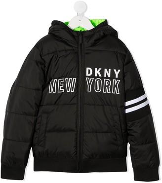 DKNY Padded Logo-Print Coat