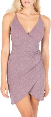 Speechless Glitter Faux Wrap Sleeveless Body-Con Dress