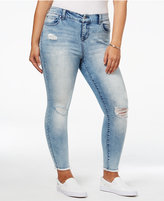 Celebrity Pink Trendy Plus Size Destructed Rascals Wash Skinny Ankle Jeans