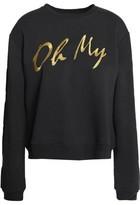 Zoe Karssen Metallic Embroidered Cotton-Blend Terry Sweatshirt