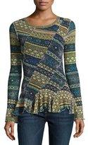 Fuzzi Long-Sleeve Striped Ruffled Tulle Top, Blue Pattern