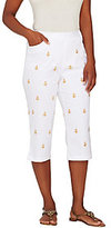 As Is Quacker Factory Good as Gold Embroidered Capri Pants