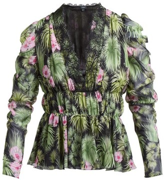 Giambattista Valli Floral-print Gathered Silk-chiffon Blouse - Womens - Black Multi