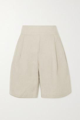MATIN Pleated Linen-canvas Shorts - Beige