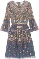 Needle & Thread Dragonfly Garden Embellished Embroidered Tulle Mini Dress - UK6