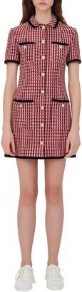Maje Tweed Front Button Minidress