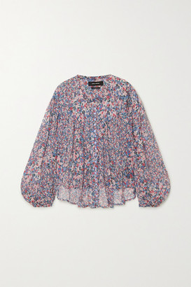 Isabel Marant Orionea Pintucked Floral-print Silk-georgette Blouse - Blue