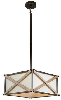 Williston Forge Corcoran 3 - Light Lantern Square / Rectangle Chandelier with Wood Accents Williston Forge