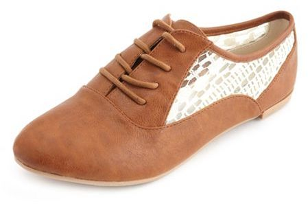 Charlotte Russe Lace Inset Oxford Flat