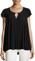 Max Studio Cap-Sleeve Pleated Chiffon Top, Black
