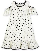 Kate Spade Girls' Cold-Shoulder Polka-Dot Dress, White/Black, Size 2-6