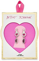 Betsey Johnson Valentine's Day Pave Cubic Zirconia Hand and Lips Drop Earrings
