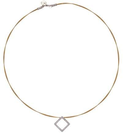 Alor Two-Tone Diamond Detail Open Diamond Shape Charm Necklace - 0.27 ctw