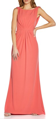 Adrianna Papell Drape Back Sleeveless Crepe Gown