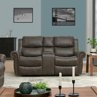Canora Grey 2 Seat Rolled Arm Wall Hugger Theater Loveseat Canora Grey