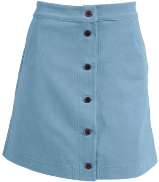Relax Baby Be Cool Ribbed Corduroy High Waist Button Up Mini Skirt - Baby Blue