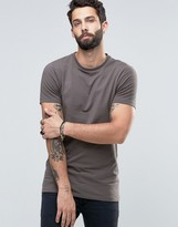 Asos Longline Muscle T-Shirt With Crew Neck In Gray