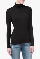 7 For All Mankind Long Sleeve Ribbed Turtleneck In Black