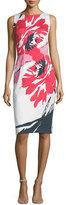 David Meister Sleeveless Macro-Floral-Print Sheath Dress, Multi Colors