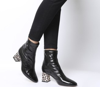 Office All Day Back Zip Block Heel Boots Black Leather With Snake Leopard Heel