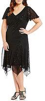 J Kara Plus Beaded Handkerchief Dress