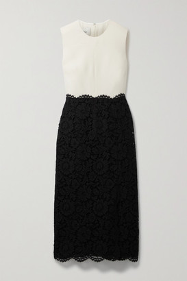 Valentino Scalloped Corded Lace And Wool And Silk-blend Midi Dress - Black