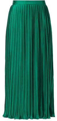 Saloni Camille High-rise Lurex-plisse Midi Skirt - Green
