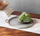 Pottery Barn Galvanized Tray with Copper Rim - Small