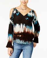 Jessica Simpson Printed Open-Back Cold-Shoulder Top