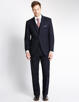 Marks And Spencer Navy Striped Regular Fit Suit Including Waistcoat