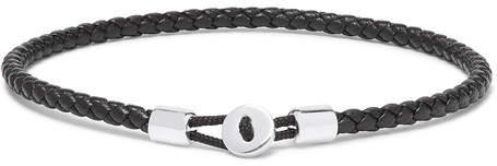 Miansai Nexus Woven Leather And Sterling Silver Bracelet