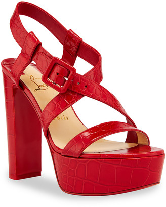 Christian Louboutin Selima Alta Mock-Croc Platform Red Sole Sandals