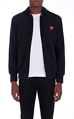 Comme des Garcons Men's Heart Zip-Front Hoodie - Black