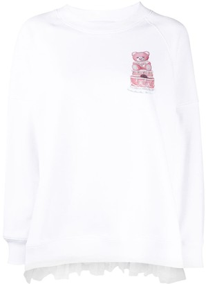Moschino Teddy Bear-Print Long-Sleeved Top