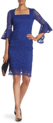 Marina Glitter Lace Square Neck Midi Dress