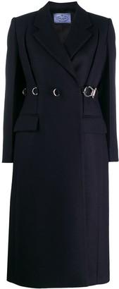 Prada Buckle Detailed Wrap Coat