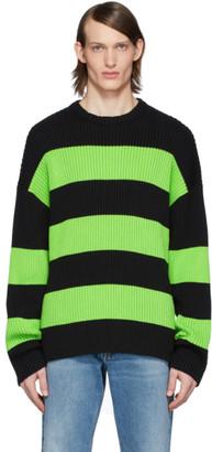 Balenciaga Black and Green Stripe Crewneck Sweater