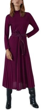 Marella Pleated Tie-Waist Turtleneck Dress