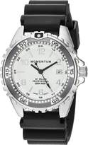 Momentum Women's Quartz Stainless Steel and Rubber Diving Watch, Color:Black (Model: 1M-DN11LG1B)