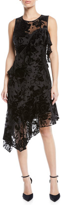 Parker Black Zurich Asymmetric Velvet Flower Cocktail Dress