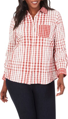 Foxcroft Hampton Crinkle Plaid Shirt