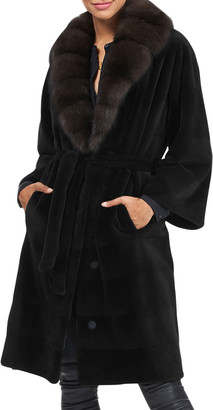 Gorski Sheared Mink Belted Coat with Sable Fur Collar