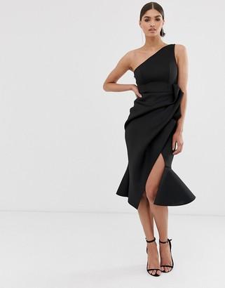Asos Design DESIGN one shoulder tuck detail midi dress