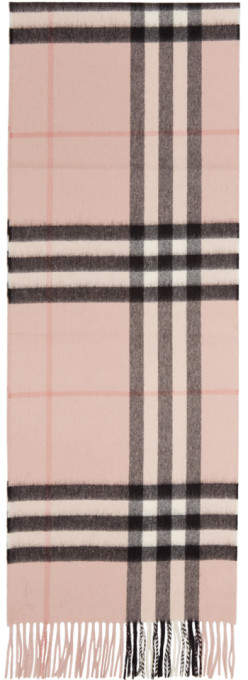 Burberry Pink Cashmere Classic Check Scarf