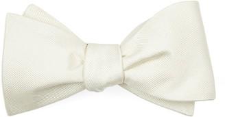 Tie Bar Grosgrain Solid Ivory Bow Tie